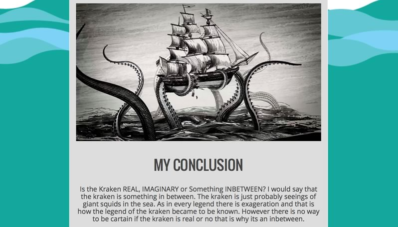 An image of a website with a header that says, 'My conclusion,' and a black and white drawing of a sailing vessel being lifted out of the coean by giant tentacles