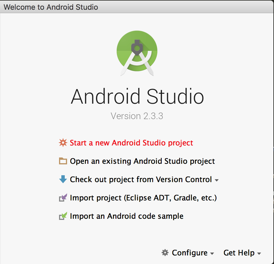 Create new Android project